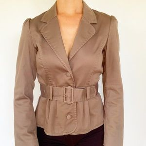 H&M brown belted professional blazer
